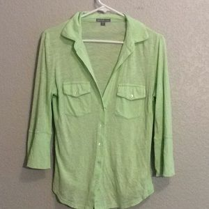 James Perse light green button down top